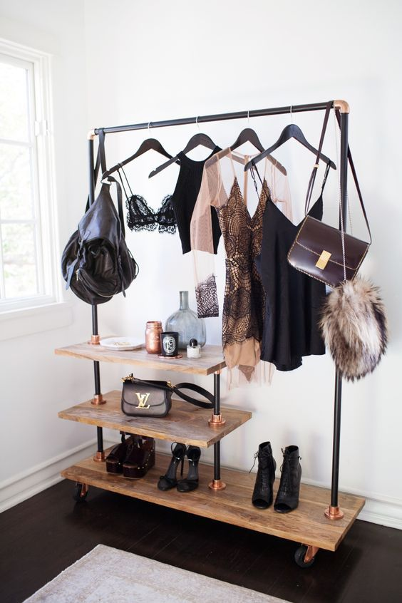 Clothing racks are ideals for small apartments or rooms with