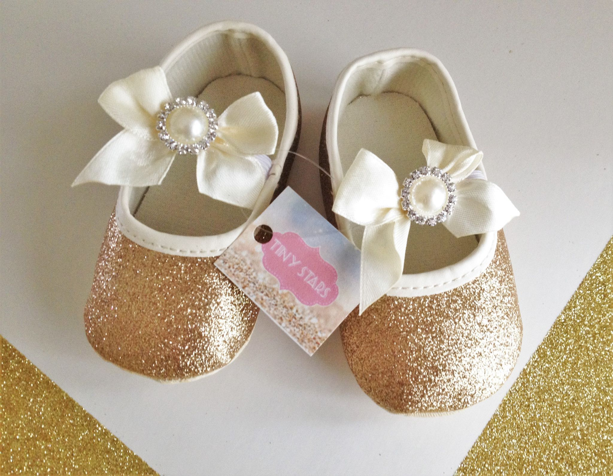 Baby Girl Gold Shoes Adorable gold and beige baby shoes ideal to
