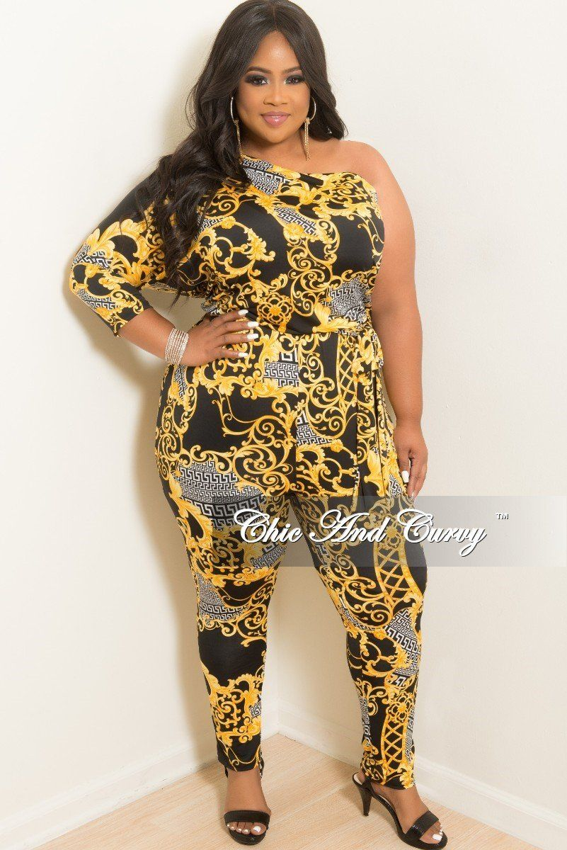644529e49c Plus Size One Sided Jumpsuit with Attached Tie in Gold Black and White –  Chic And Curvy