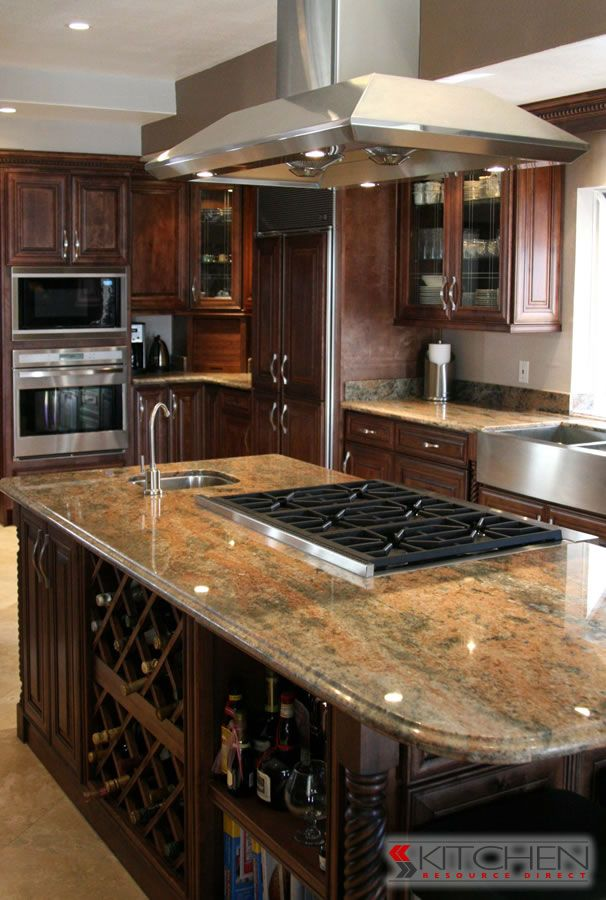 Super Functional Island With Wine Rack Bar Sink And Stove Top Dreammm Kitchen