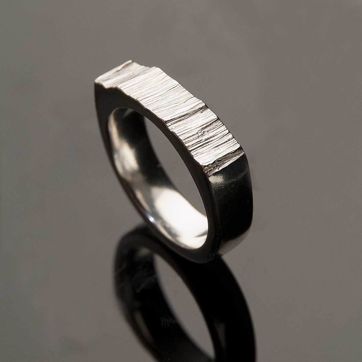 Wide Saw Cut Mens Wedding Ring Sterling Silver Textured Modern