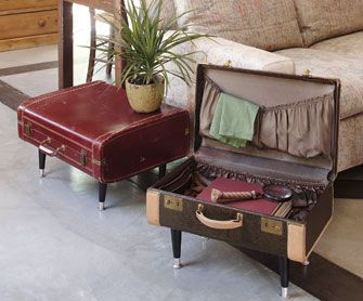 Turn an old suitcase into a table. This one's being sold for $200 or make your own for much less!