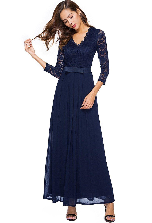 Berydress Women S Vintage Floral Lace 3 4 Sleeve Evening Party Formal Dress Chiffon Long Maxi Dress At Amazon Women S Clo Long Maxi Dress Chiffon Dress Dresses [ 1500 x 1024 Pixel ]