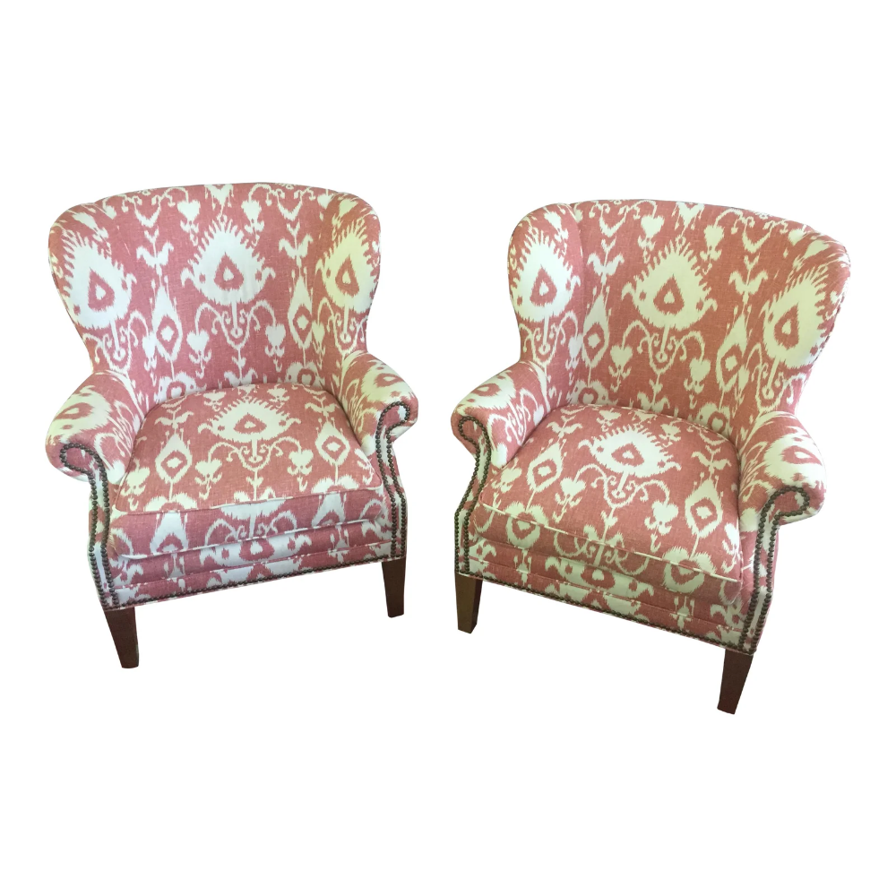 Terrific Coral Ikat Wingback Accent Chairs A Pair In 2019 Accent Evergreenethics Interior Chair Design Evergreenethicsorg