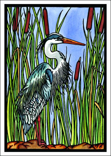 Blue Heron - Single Blank Sarah Angst Greeting Card - Graceful Water Bird Image by SarahAngstArt on Etsy