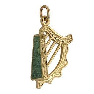 Gold Connemara Marble Set Harp Charm #Gold #Harp #Charm