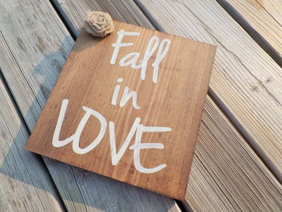 Fall In Love Sign, Rustic Fall Sign, Fall Wedding Decor, Farmhouse Style Decor, Country Home Decor by DashofFlair