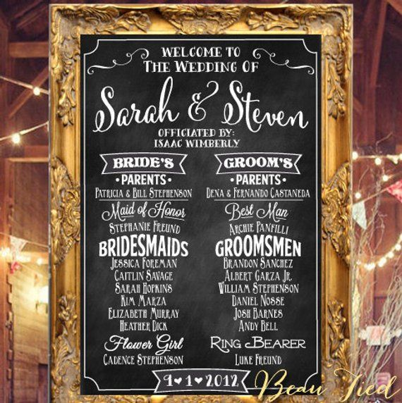 wedding program chalkboard sign chalkboard wedding program