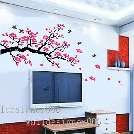 Cherry Blossom Wall Decal Wall Sticker Pink Flower Decal Tree - Wall stickers for girlspink cherry blossom tree with birds wall stickers girls bedroom