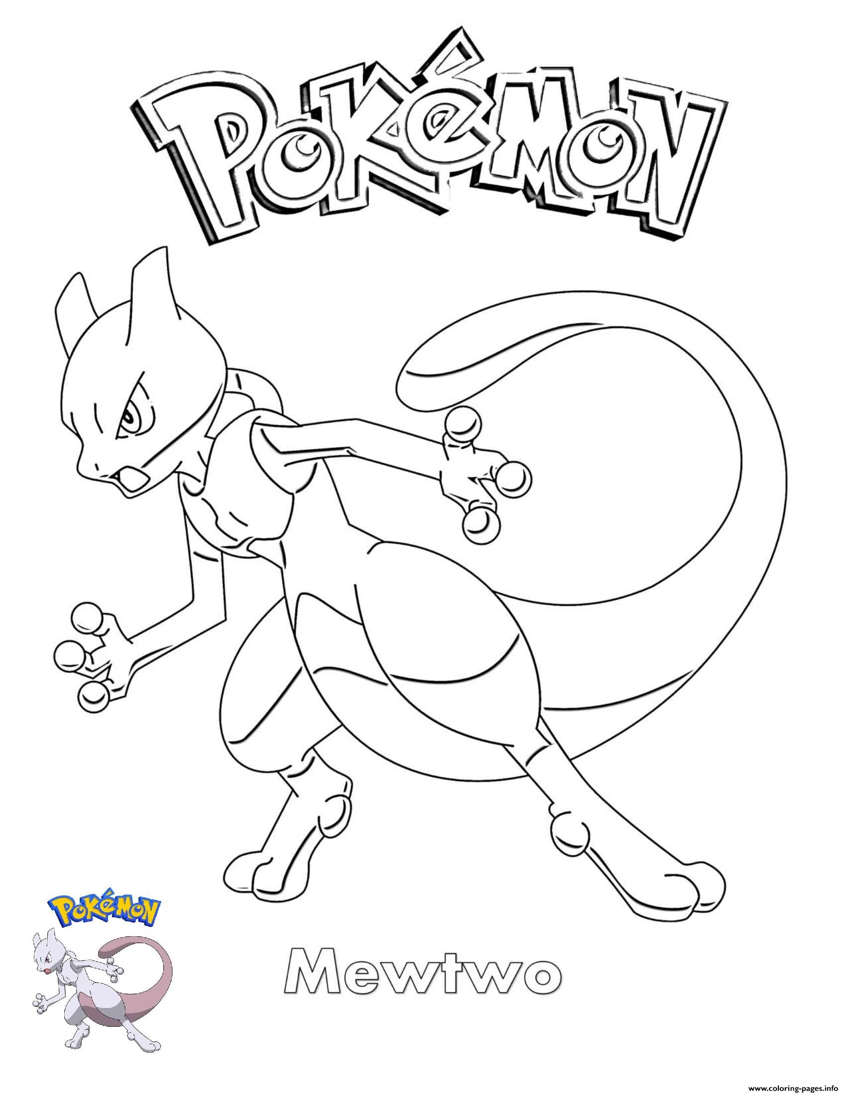 Print Mewtwo Pokemon coloring pages