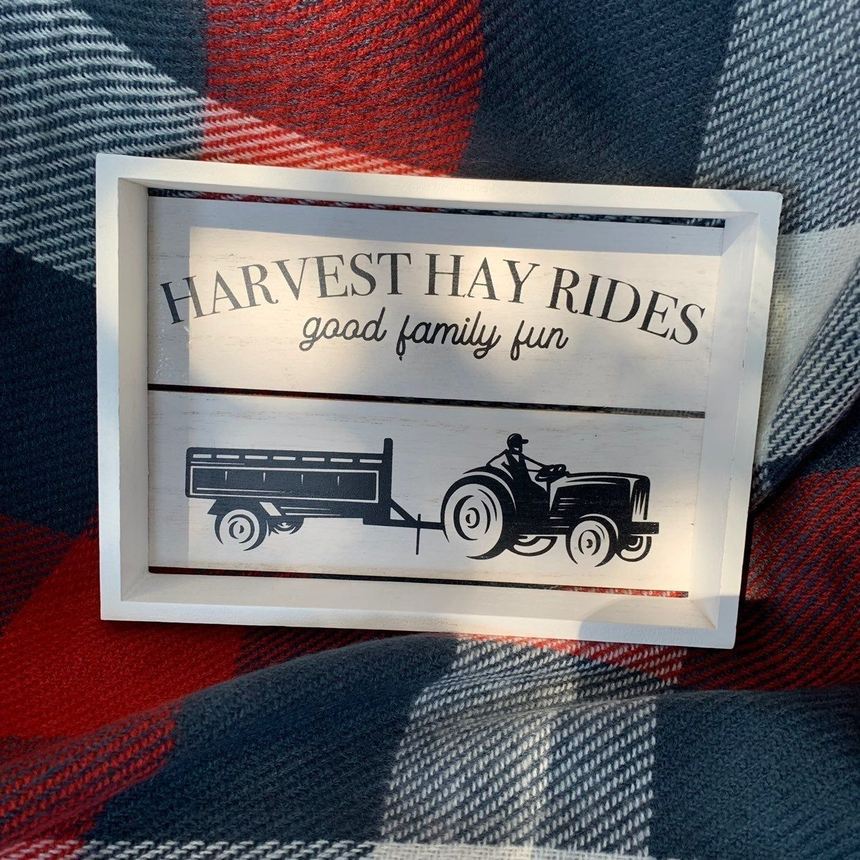 Standing farmhouse shiplap crate harvest hay rides sign