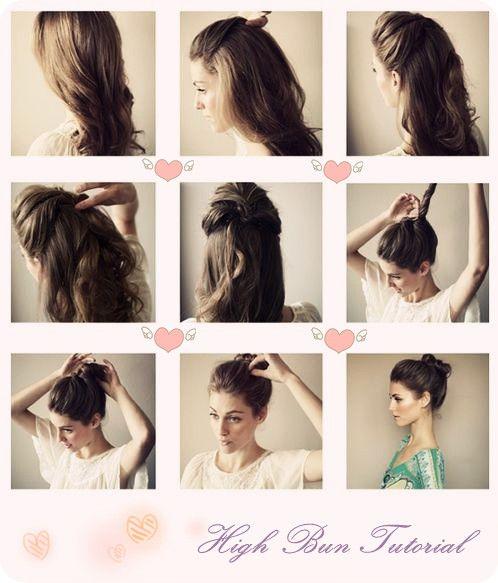 Cool High Bun Tutorials High Bun And Bun Tutorials On Pinterest Short Hairstyles Gunalazisus