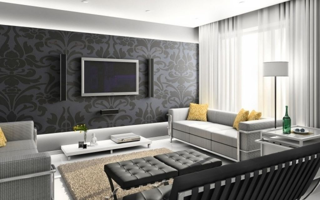 Wandgestaltung Tapete Wohnzimmer Florale Muster Dunkelgrau Moderne Wohnzimmer Tapeten Interior Rumah Painting