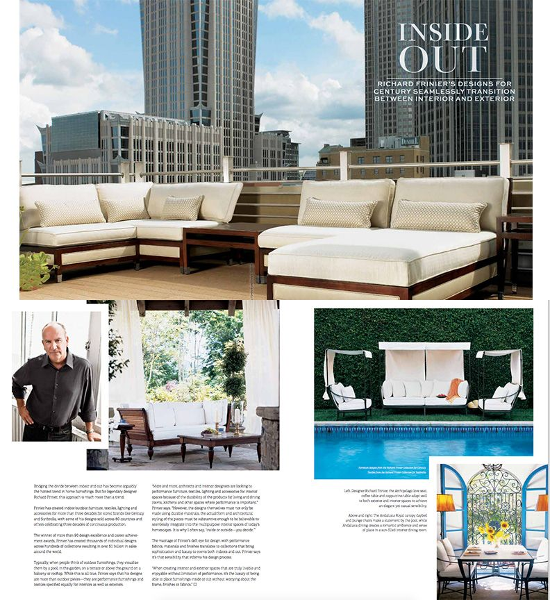Exterior design magazine shows how designs from the richard frinier collection for century can go inside or outside you decide also rh pinterest