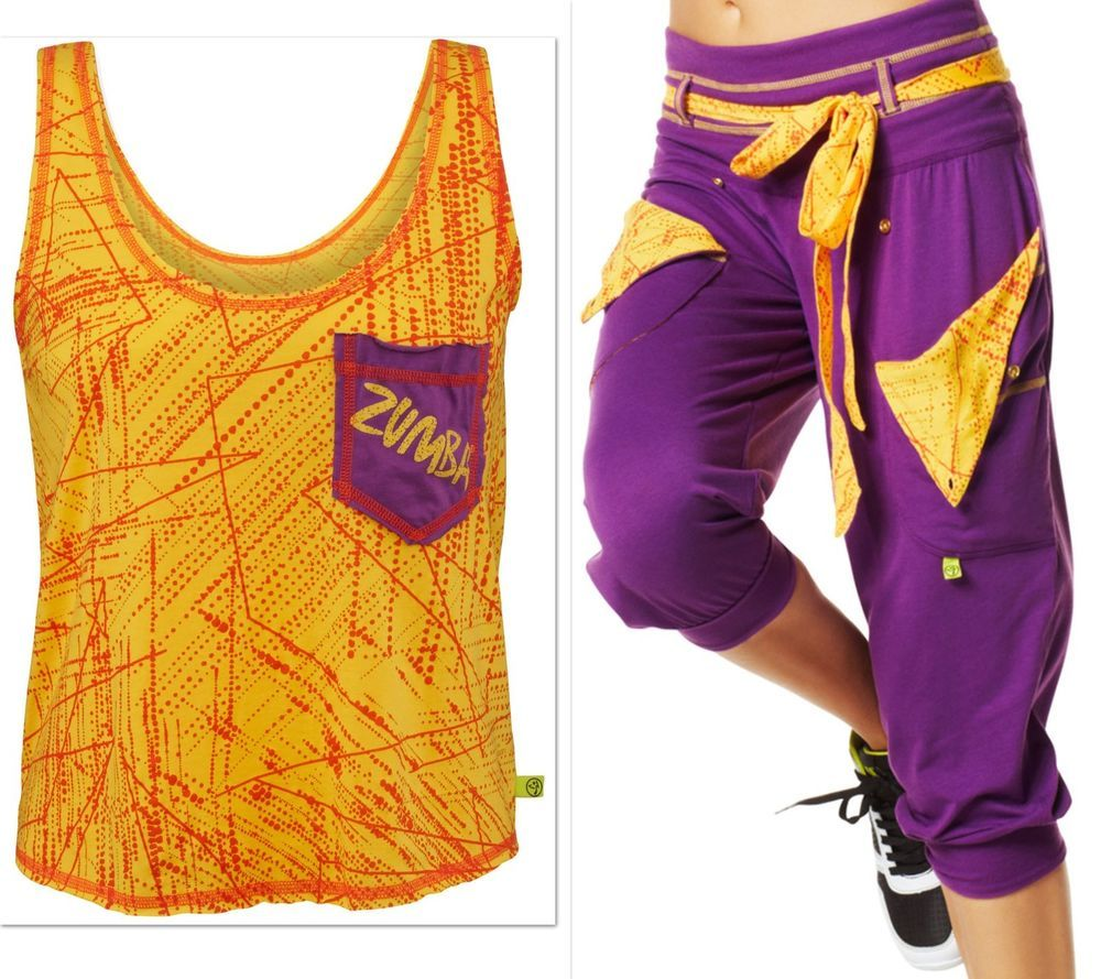 ZUMBA  FITNESS ~2Pc. Set!! Do-It-For-Fame CARGO CAPRI PANTS & Shirt TOP Tank S M #Zumba #CargoCaprisCapriPantsTopShirtTank