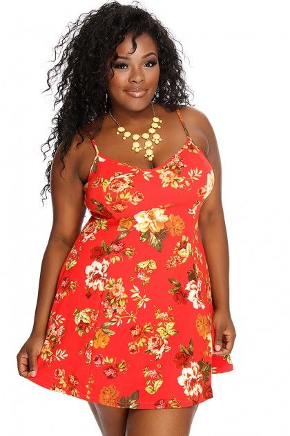 Red Floral Printed Sleeveless Casual A-Line Plus Size Sun Dress
