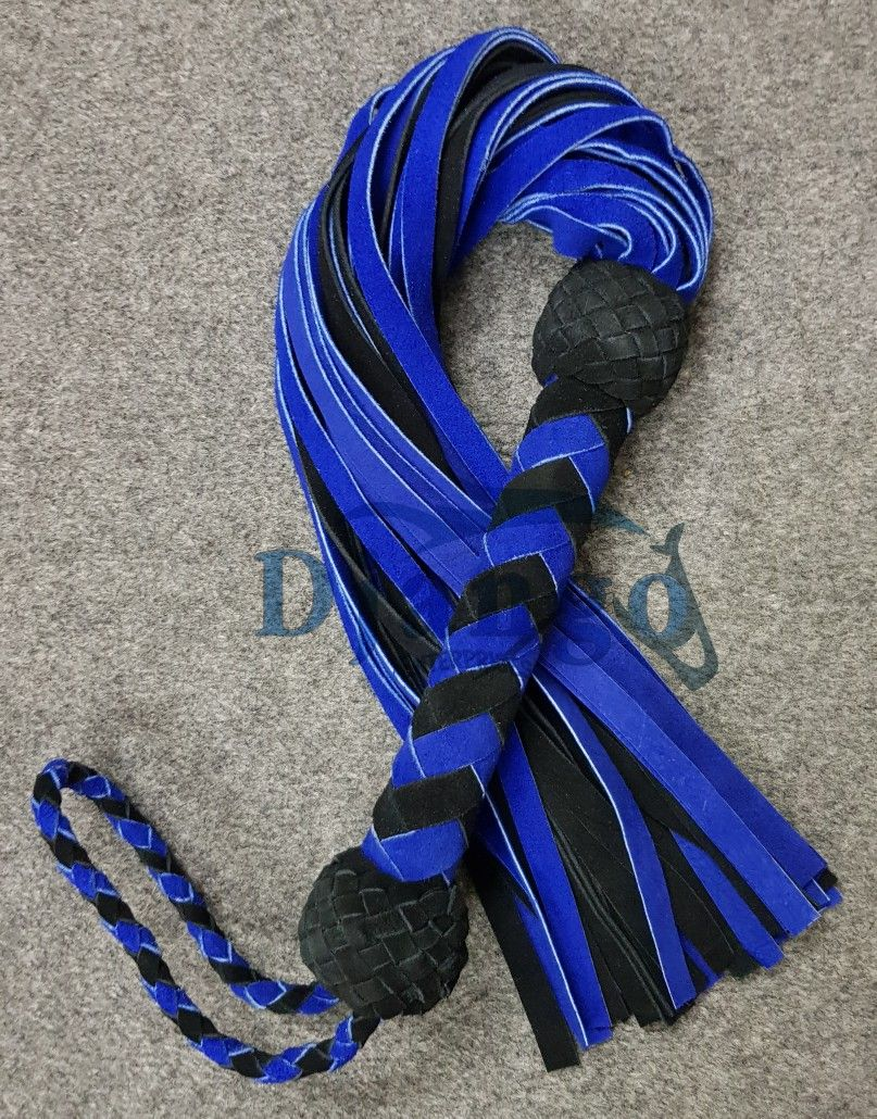 Black Suede leather and 36 Suede leather tails flogger Whip Adult Play