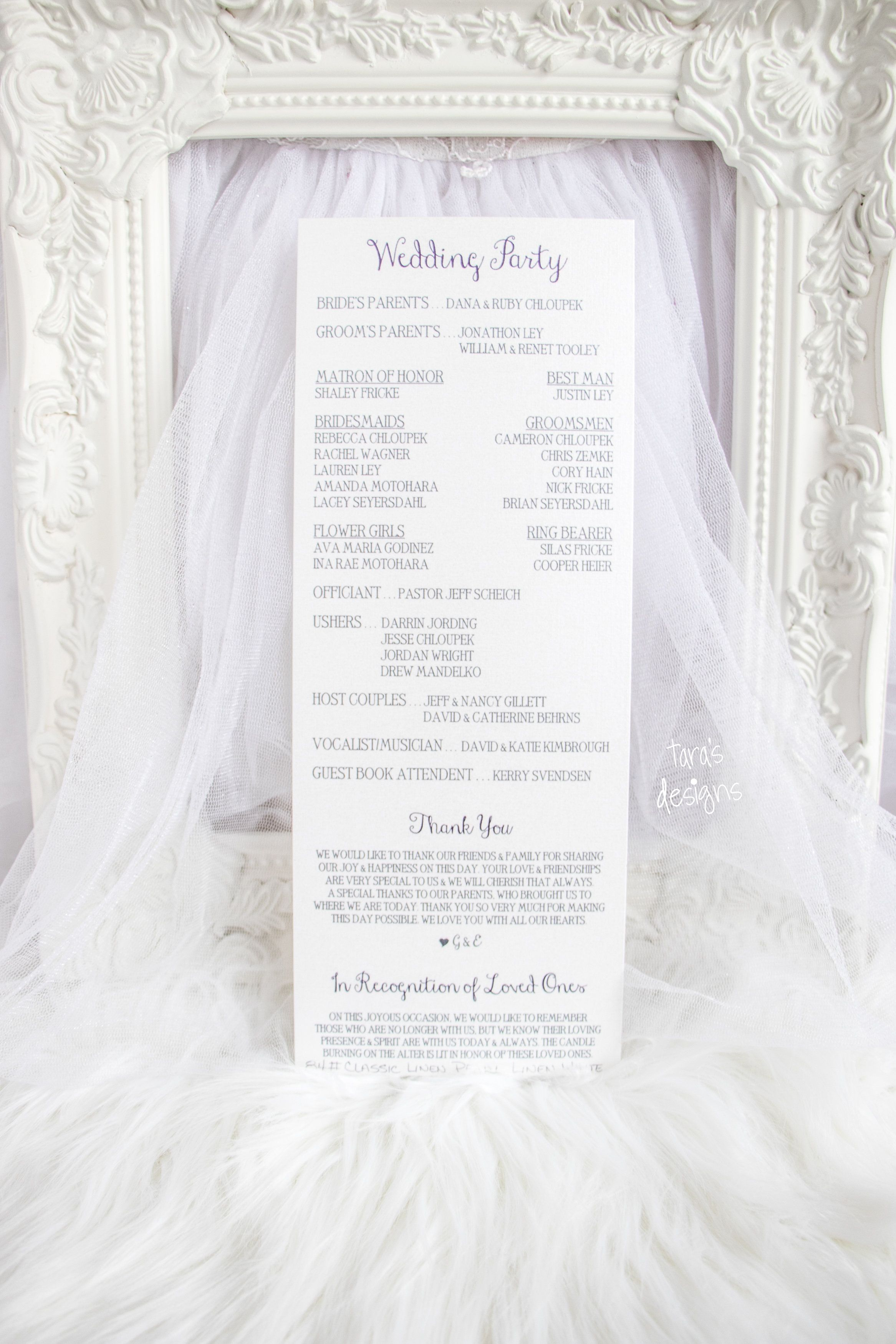 wedding program tall skinny front and back purple and pearl white
