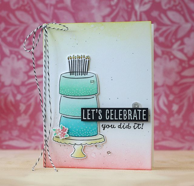 Card by Laura Bassen. Reverse Confetti stamp sets: Candles 'n Confetti and Celebrations. Confetti Cuts: Candles 'n Celebrations. Birthday card. Congratulations card. Graduations card.
