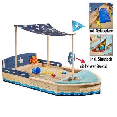 Sun Sandkasten Schiff XL Holz m. Sitzbank Dachsegel ...