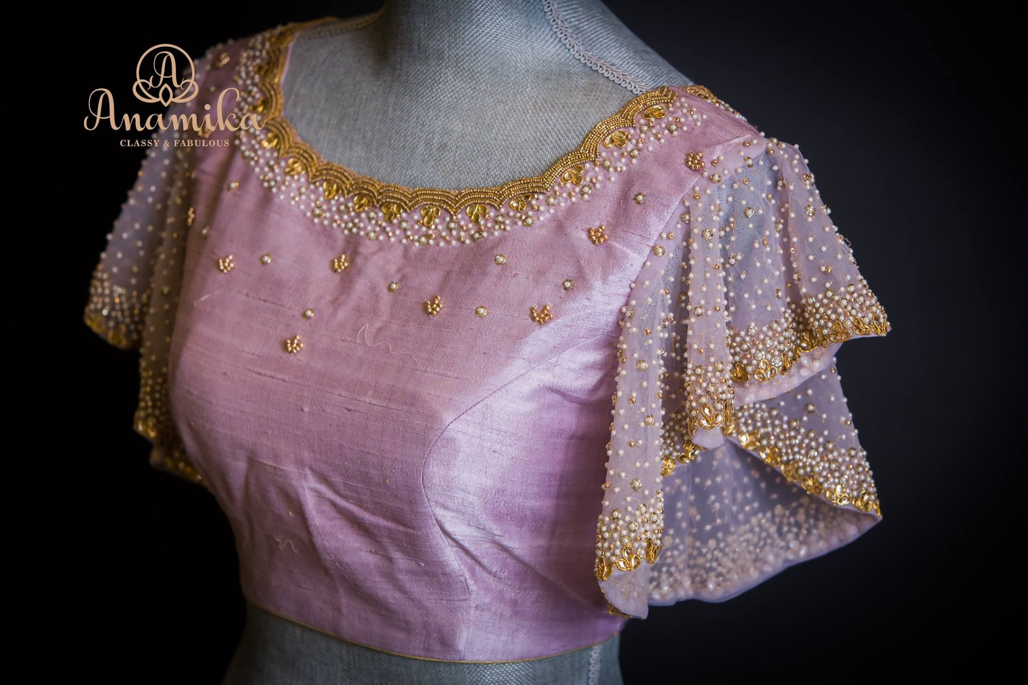 0ca127d9f7d1a1 Can be customized in any color choices. Beautiful lavender color designer  blouse with hand embroidery bead work. Blouse with ruffle sleeves.