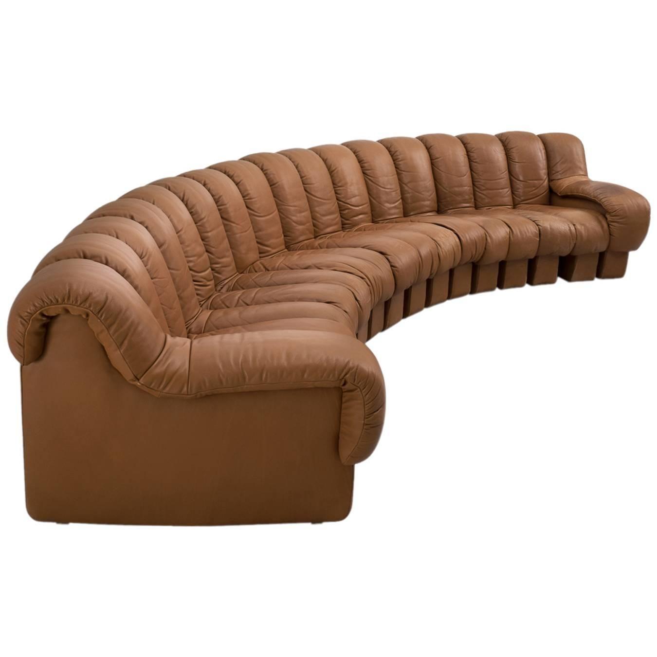 De Sede Ds 600 Non Stop Sectional Sofa In Cognac Leather Sectional Sofa Sectional Furniture