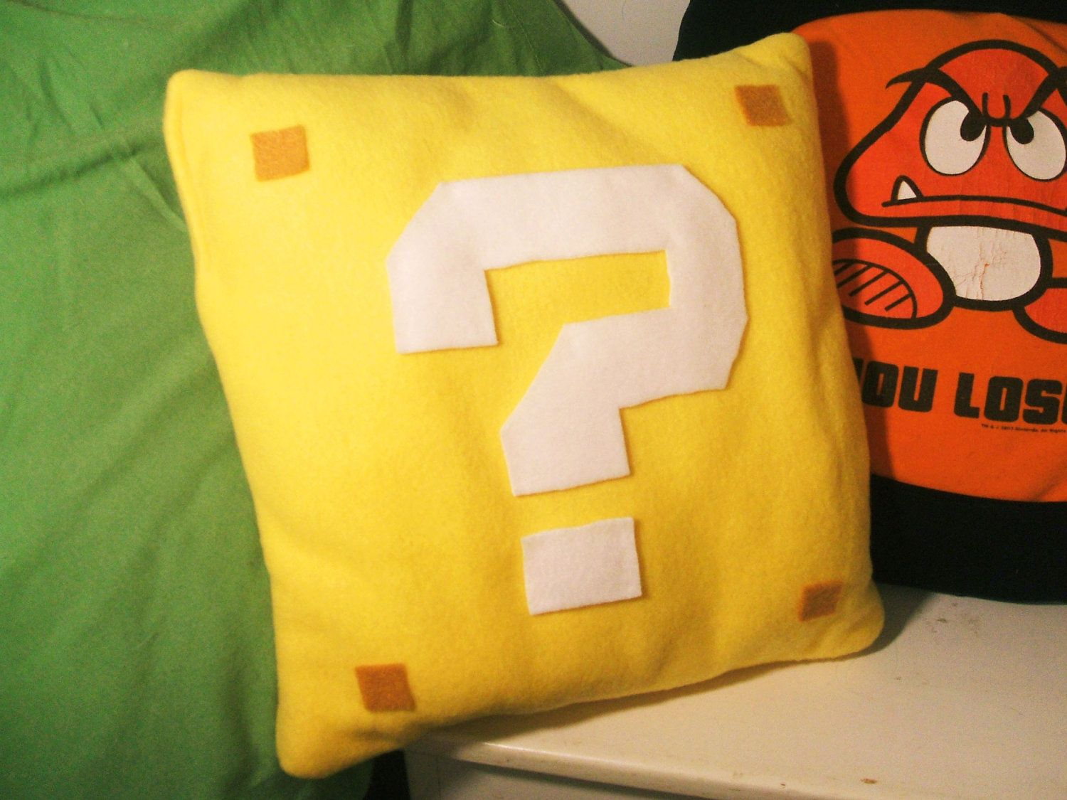 Super Mario Question Mark Block Pillow by audreymade on Etsy Boys