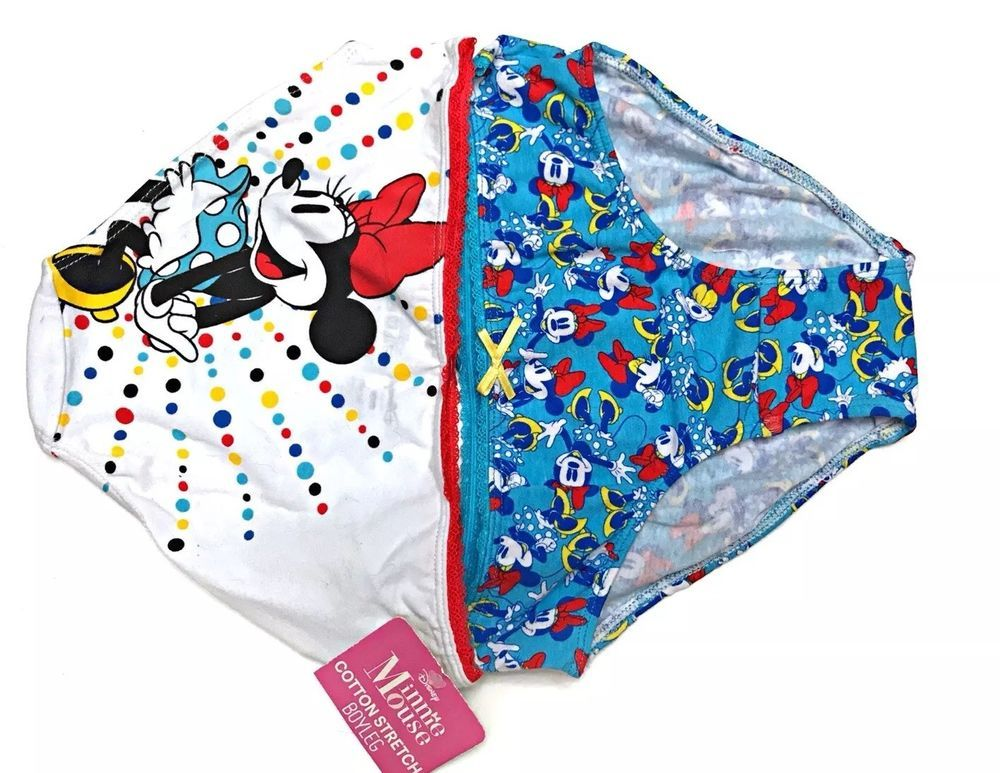 06e63c0b75cd New Girls size Medium Minnie Mouse Panties 2 pack Boyleg Disney Cotton  Stretch | eBay