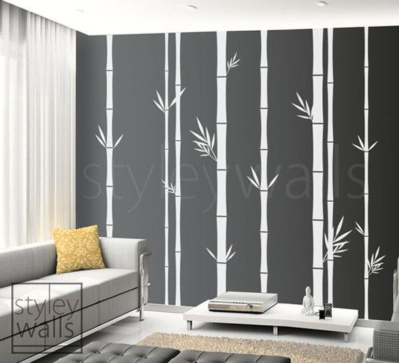 Bamboo Wall Art bamboo wall decal, bamboo tree wall decal, 100inch tall set of 8