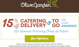 Olive Garden 15 Off Catering And Togo Coupon Code Hunt4freebies Olive Gardens Catering Coding