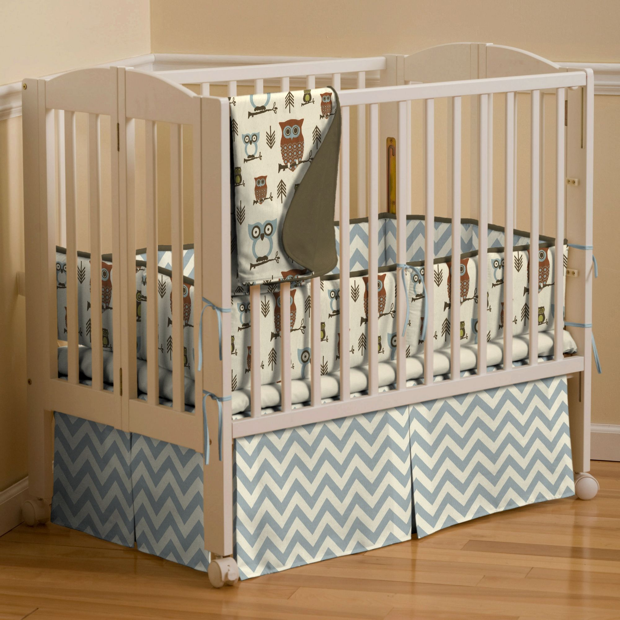 Retro Owls Portable Crib Bedding Carousel Designs Portable Crib Bedding Portable Crib Modern Crib Bedding