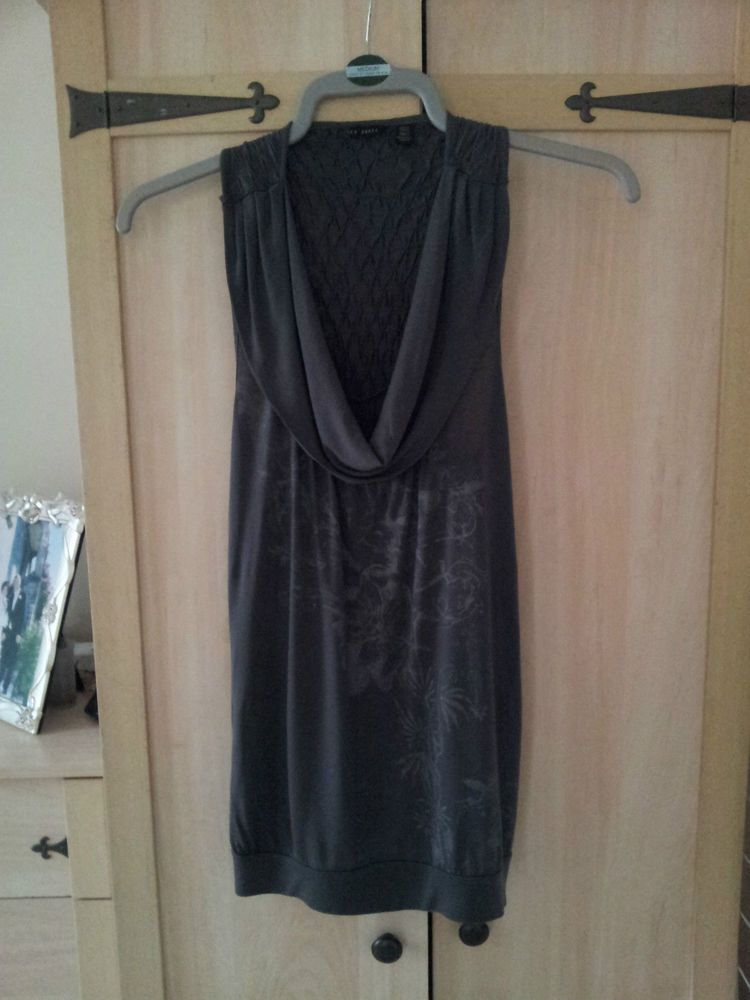 d6fec7e03 Ted Baker Tunic Top Ladies Womens Size 1 UK 10 Dark Grey.