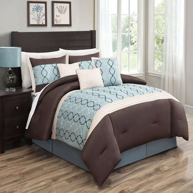 Cole Blue 7Pc Comforter Set by Luxury Bedding Co 7Piece Sets