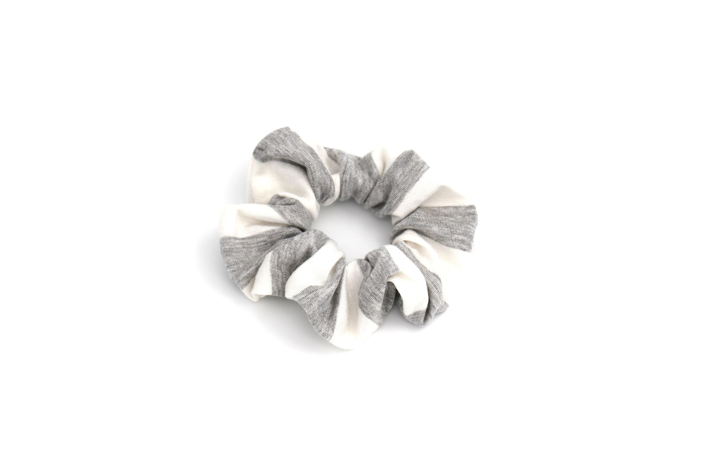 Striped Hair Scrunchy - Grey and White Scrunchy - Hair Scrunchies - Scrunchie with Stripes #hairscrunchie