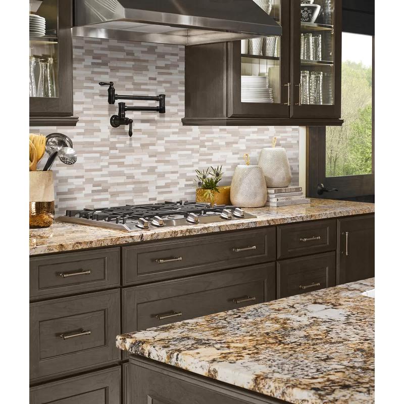 12 X 12 Natural Stone Peel Stick Mosaic Tile In 2020 Kitchen Remodel Mosaic Flooring Brown Kitchens