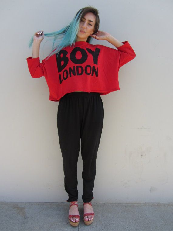 Vintage 90s Boy London Cropped sweater by HotCocoaVintage on Etsy