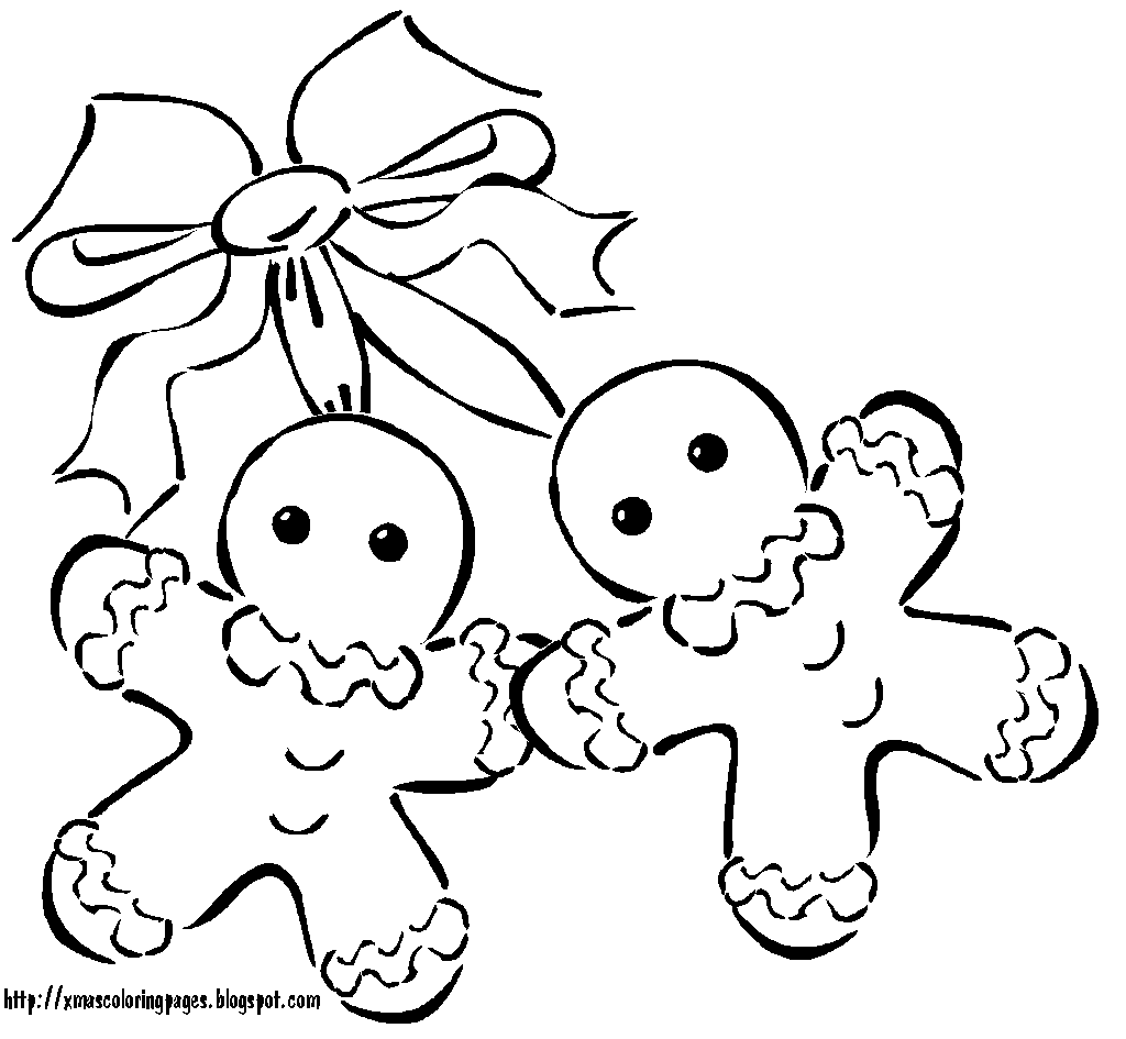 Cute Gingerbread Men Colouring Page