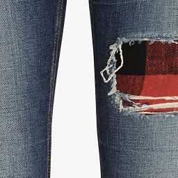 rag & bone/JEAN Sloane Plaid Rip Repair Skinny | Shop IntermixOnline.com