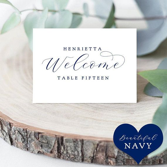 Navy Folded Place Cards Template, Printable Blue Place Cards Escort