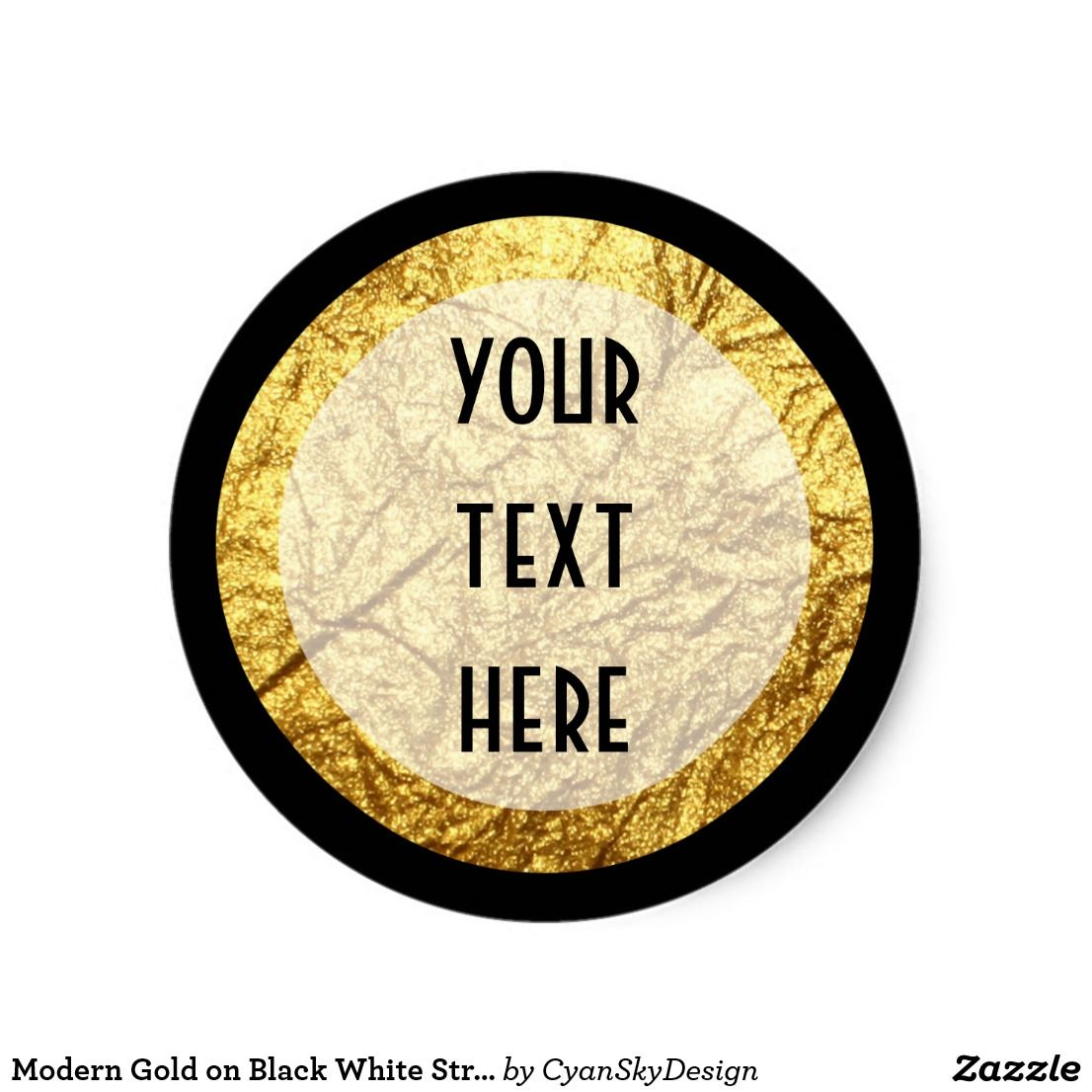 Modern gold on black white stripe luxury boutique classic round sticker • custom personalized text product packaging labels by cyanskydesign on zazzle