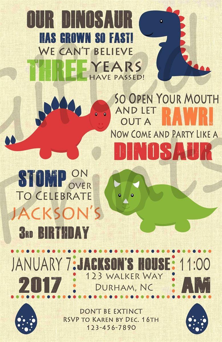 Birthday Invitation Dinosaur Theme 3rd Party For Boy