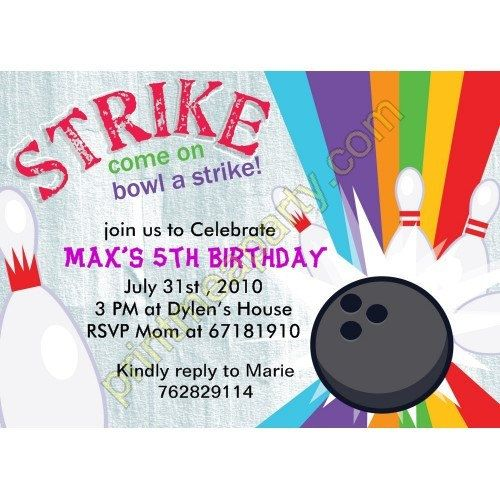Lucky Strike Bowling invitation Girl Bowling invitation – Bowling Party Invitation Wording