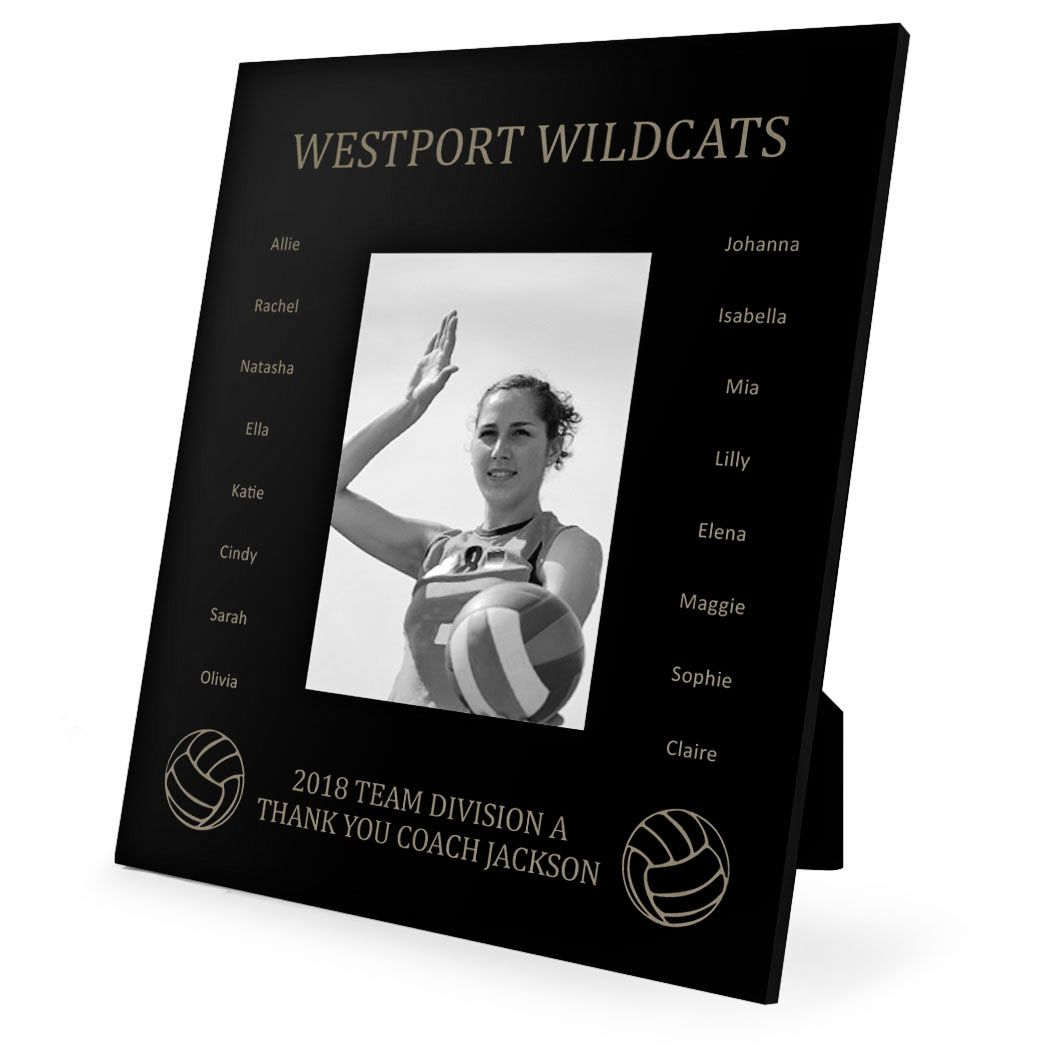 Personalized Volleyball Picture Frame Custom Team Name With Roster Photo 5x7 Metal Photo Frame Youth Volleyball Room Decor Custom Picture Frame