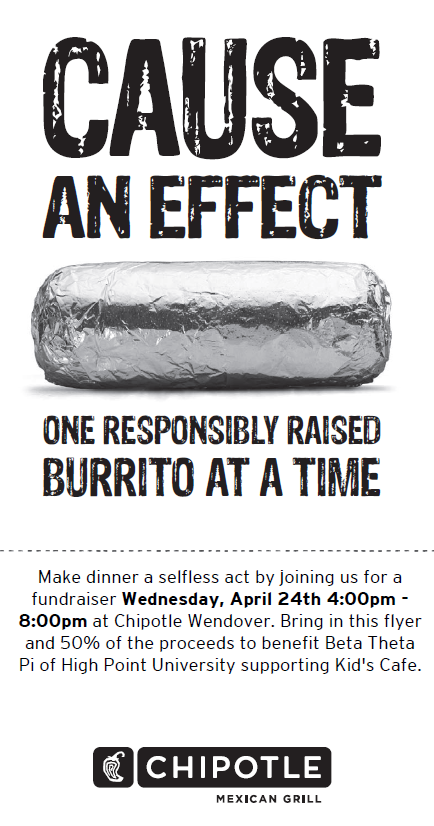 To The Brothers Of High Point University I Say Nice Move Bro Kai Chipotle Coupons Fundraising Kids Cafe
