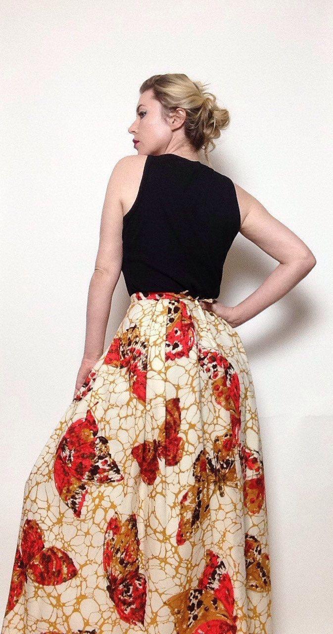 Vintage 'Tanagra' 1960's Butterfly Skirt | High Waisted | Cream ...