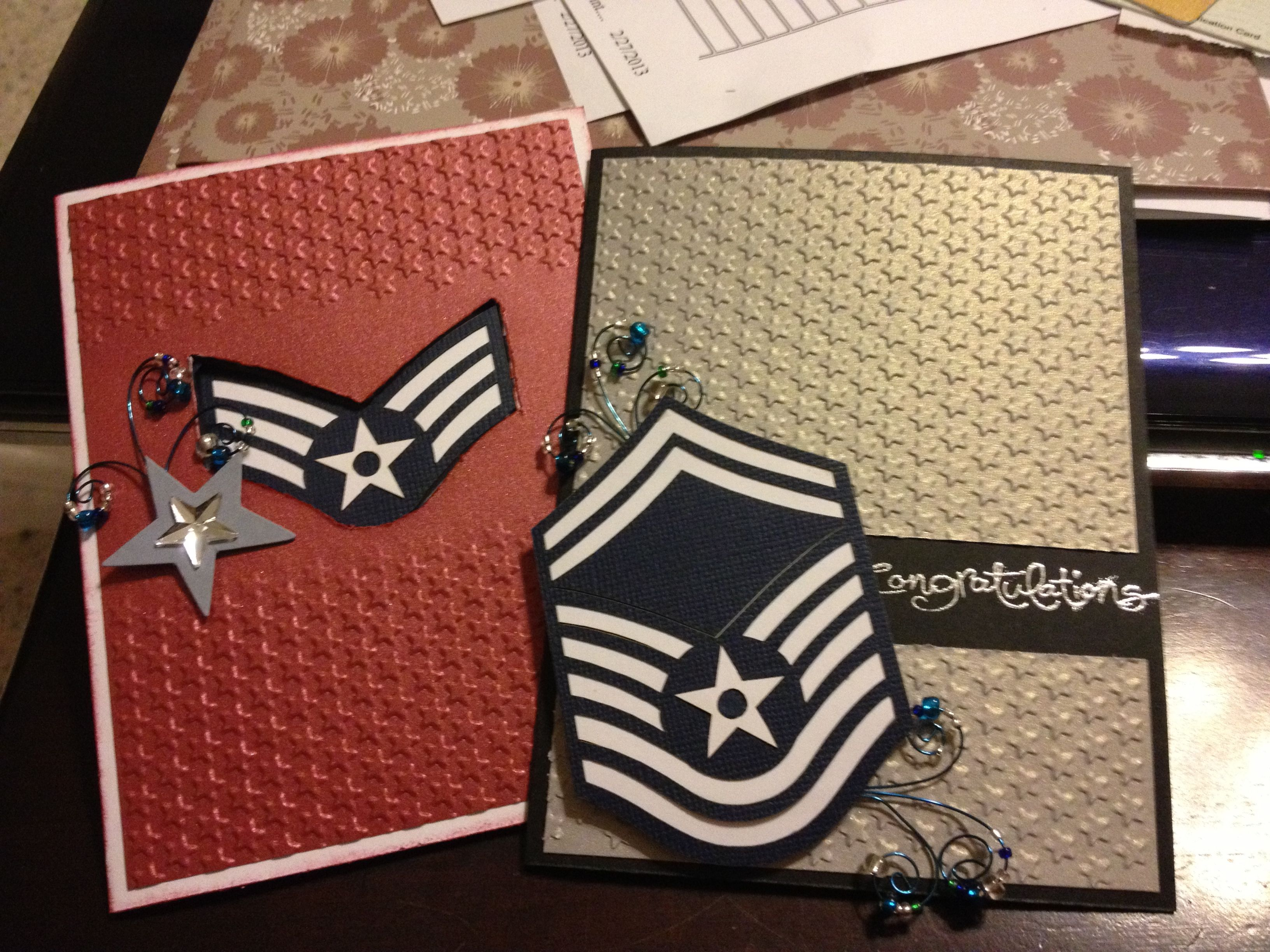Military promotion cards embossed cards military cards
