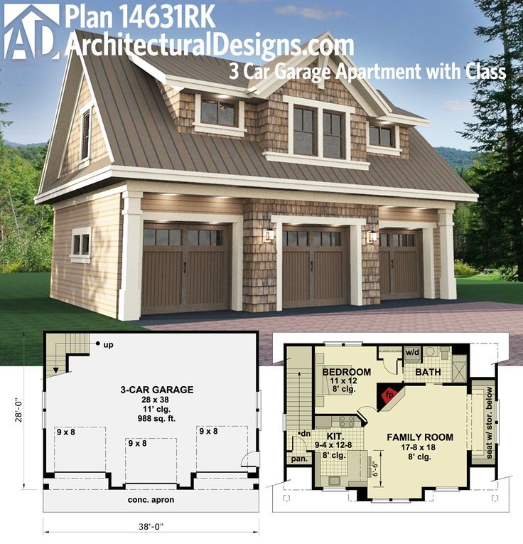Architectural Designs Carriage House Plan 14631RK gives you parking