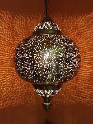 Orientalische indische silber leuchte deckenleuchten haengelampen lampen leuchten wohnzimmer for Orientalische lampe silber