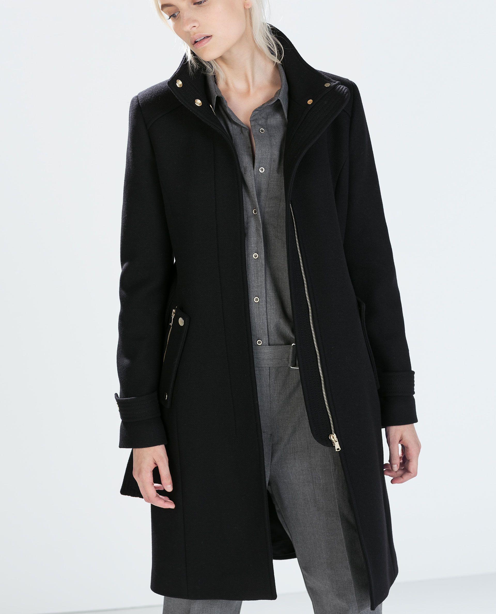 b5ccbcbe Image 2 of ZIP POCKET COAT from Zara | Shopping Things | Wool coat ...