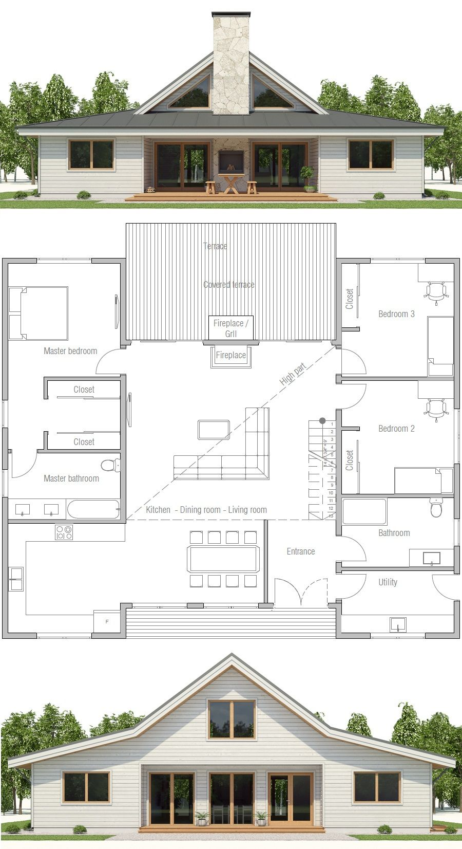 House plan ch497 ▫net area 1900 sq ft ▫gross area 2143 sq ft ▫bedrooms 3 ▫bathrooms 2 ▫floors 1
